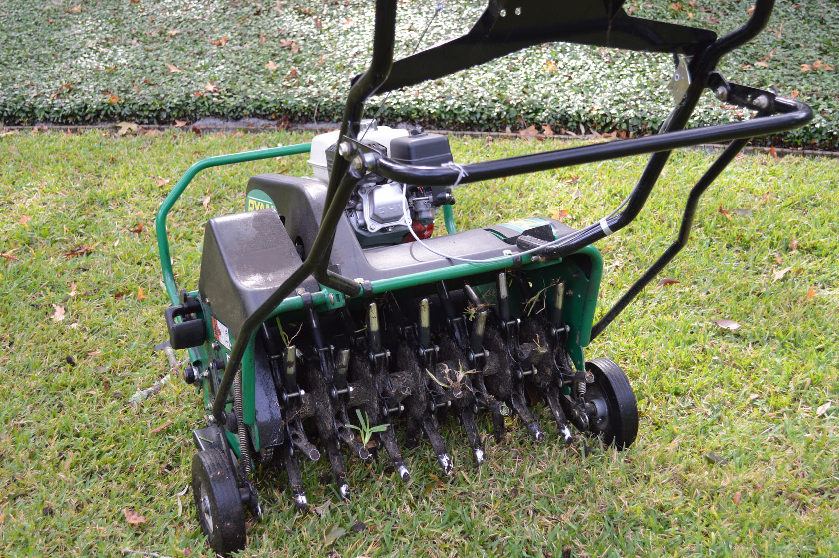 A lawn aerating maching